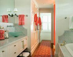 Bathroom Design | Essentials | Coral Color | Sea Foam Green | Bath Accessories