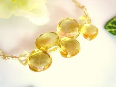 Abstract citrine gold filled necklace gold citrine by KBlossoms, $48.00