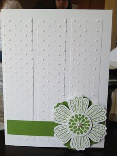 Whisper White Card Stock Gumball Green Card Stock  Mixed Bunch Stamp Set Blossom Punch Pearls Embossed Card Stock with Polka Dot Embossing Folder