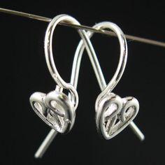 Sterling Silver Ear Wire Findings, Bulk discount - Simple Fishhook shape with Heart 18X2mm, 20 gauge (on Etsy)