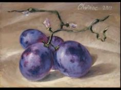 D.C. Chiriac ACEO - grapes 4  - still life life, chiriac, instruct, grape, arttutori, aceo, killara, akwarela, oil