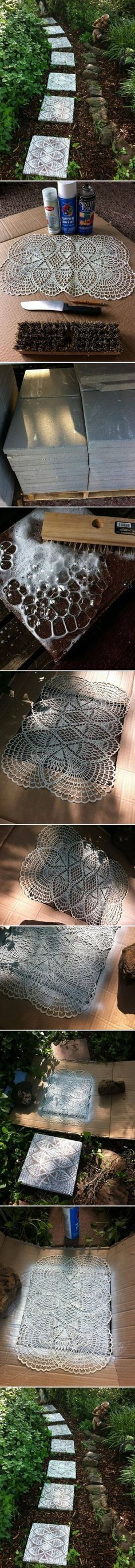 DIY Lace Like Stepping Stones - diy craft crafts easy crafts (follow the pictures step-by-step) Garden Path Ideas