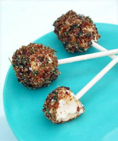 """Bacon Pops - Goat Cheese Pops rolled in Herbs, Pecans, and Bacon! Summer appetizer! I have been testing recipes for a big crowd get together at my Montana home for Memorial Day. I decided one evening is going to be a """"dinner on a stick"""", using all sorts of Pinterest recipes that are made or served on a skewer. These are SO GOOD!!! Easy to prepare. They were gone in seconds!"""