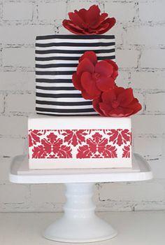 Modern black, white & red cake