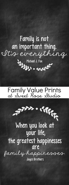 Hang these family value prints in your home to serve as a reminder of what matters most. Oh, and they're FREE! family values, printables, quotes family free printable, inspir, chalkboard, prints, homes, families, live