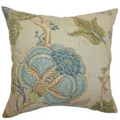 """Reversible linen throw pillow with a floral motif and down-feather insert. Made in the USA.  Product: PillowConstruction Material: Cotton cover and down fillColor: Natural and multiFeatures:  Insert includedHidden zipper closureMade in the USA Dimensions: 18"""" x 18""""Cleaning and Care: Spot clean"""