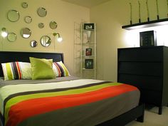 Cool Tween Boys Bedroom Design Ideas 2014 : Charming Pale Green Tween Boys Bedroom Decoration with Black Frame Bed and Black Colored Drawer ...