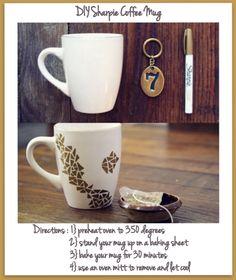 blog mug sharpie marker + 350 degree over = gift mugs & plates