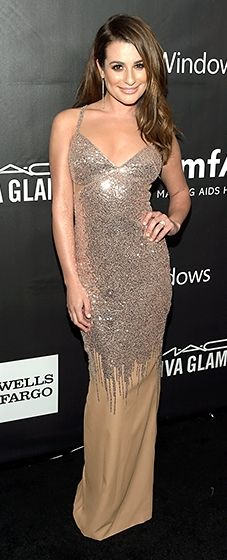 Lea Michele shined in a sequined Versace dress and dangling earrings.