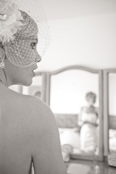 I loved this bride's birdcage veil!! Photo by www.RedivivusPhotography.com