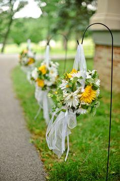 yellow & green gerber daisies in pomanders