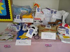 CAD - Class Assignemnt Day raffle prizes marked, labled and ready to present to 14 lucky families!