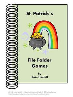 St. Patrick's Printable Math & Reading File Folder Games