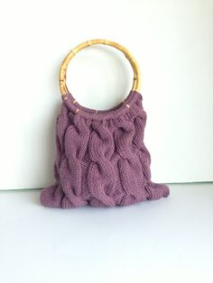 Handbag Knitted handbag with bamboo handles by LaVieBoeretroos, $35.00