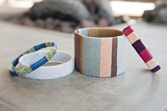 Stylish Bracelets Made From Cardboard + Embroidery Thread