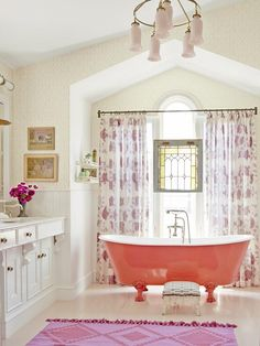 The focal point of this large bathroom must be the painted clawfoot tub! #hgtvmagazine http://www.hgtv.com/decorating-basics/a-house-that-makes-you-smile/pictures/page-20.html?soc=pinterest