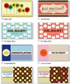 free candy bar wrapper printables.... @Jenni Ramoya Ramoya Ramoya!  The just married would be cool for your s'mores bar.  It's just around the corner!