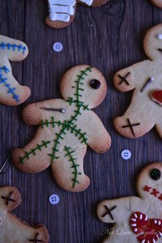 voodoo doll cookies... Good use of the gingerbread man cookie cutter for Halloween, not just Christmas!!