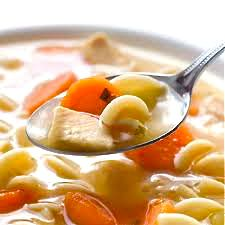 """Comforting Homemade Chicken Soup...Just hear the name, chicken soup and it makes you feel good. I'm using reduced-sodium chicken broth, skinless chicken breasts, and """"no yolk egg """"noodles. The skinny for a 2 cup serving, 159 calories, 1.6 grams of fat and 4 Weight Watchers POINTS PLUS. It's so satisfying and makes a very filling meal."""