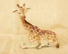 Nellie the Giraffe: Needle felted animal sculpture