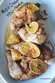 Crock Pot Orange Maple BBQ Chicken ~ Chicken is slow cooked in the Crock Pot with fresh oranges and a little maple syrup!