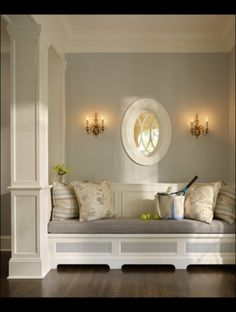 wall colors, mirror window, silver grey paint color, reading nooks, paint colors, entry bench, hallway, window seats, entryway
