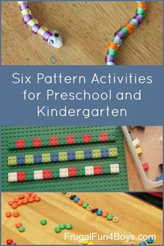 Six pattern activities for 4-6 year olds - I love how these use materials from around the house!
