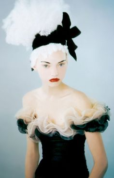 Black and white and red lips. Sasha by Paolo Roversi