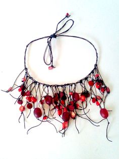 adjustable necklace of glass beads, shells and linen cord