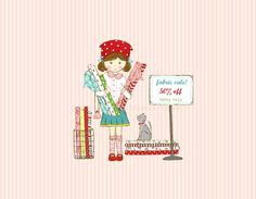 Fabric Sale Illustration  The Quilt Shoppe by alittlesweetness, $20.00