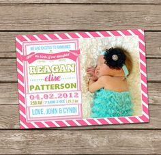 Birth Announcement : Reagan Baby Girl Custom Photo Birth Announcement. $15.00, via Etsy. LOVE