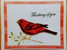Red bird,Ctmh, colors used poppy, cranberry,black.