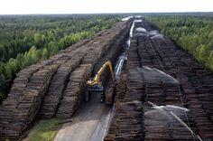 sweden, storage area, wood storage, trees, bridges, homes, lincoln logs, largest, yards
