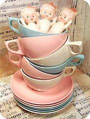 doll, cups, kitchen art, pastel colors, vintage tea