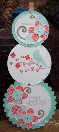 Telescoping Circles Card using Eastern Blooms stamp set. Has a link to tutorial for making a telescoping card.