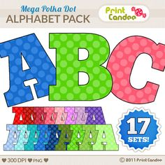 Mega Polka Dots Alphabet -BUY 2 GET 1 FREE- Digital Clip Art Personal and Commercial Use - paper crafts card making scrapbooking. $3.50, via Etsy. Love these!