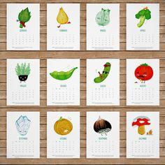 Printable veggie calendar by Pertfertre. So cute for the kitchen. #printables #free #ideas