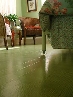 green painted wood floor...so want to do this!!