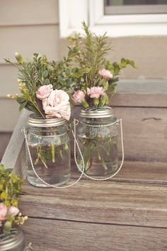 Love these rustic and simple mason jar centerpieces! #etsy