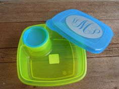 Personalized Lunch Container - Monogram - Portion Control - Great for Salads, fruit, casseroles, etc.. $11.00, via Etsy.