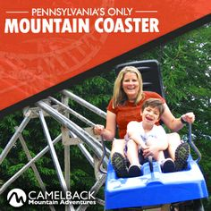 "Camelback Mountain Adventures features PA's only Mountain Coaster! 4500"" of pure excitement! #MountainCoaster #Adventures #Poconos #PoconoMtns"