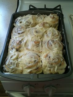 cinnabon cinnamon rolls... They turned out amazing. Really simple recipe to follow and it only took around three hours from start to finish. The icing is fantastic!!!