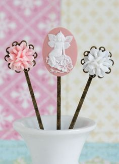Hair Pins Pink and White Bobby Pins Antique