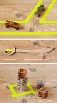 "I like the idea of giving the kids rolls of tape and having them make ""roads"" to follow all over the room.  DIY wooden toys via www.xo-inmyroom.com"