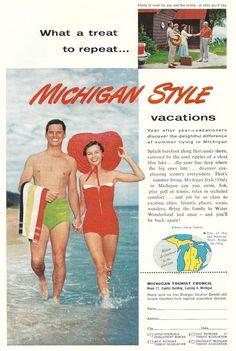 Vintage Michigan Travel Ad -  1950s tourism