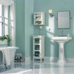 Tranquil blue makes bathroom feel like your own oasis