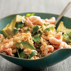 Shrimp, cilantro, and avocado with brown rice    #recipe  #juliesoissons