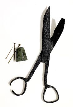 """1607 Jamestown, Virginia: """"A brass thimble, pins and scissors from Nürnberg, Germany made their way to the colony via London."""""""