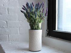 DIY Rope-Wrapped Glass Vase >> http://blog.diynetwork.com/maderemade/how-to/diy-rope-wrapped-glass-vase/?soc=pinterest