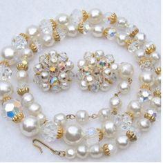 Faux Baroque Pearls Aurora Borealis Rhinestone Necklace  Earrings Vtg Jewelry Set